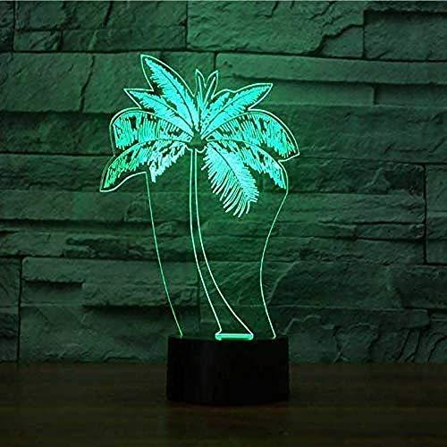 Luces nocturnas Ilusión 3D Lámpara De Ilusión Coconut plant Ilusión Lámpara de mesa Luces con para la decoración del partido Presentes de cumpleaños Con interfaz USB, cambio de color colorido