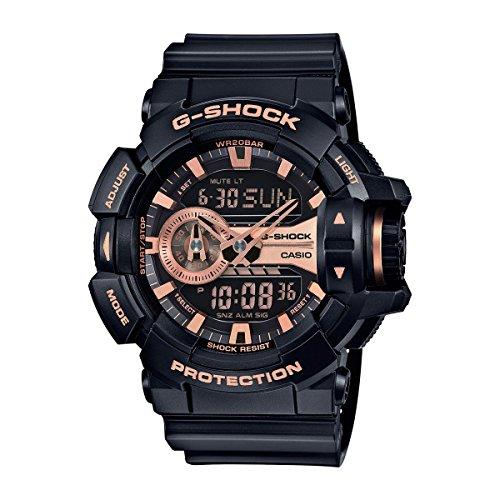 Casio G-Shock Gold-Tone Dial Resin Black Rose Quartz Men's GA400GB-1A4 Watch