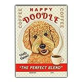 Imã de geladeira retrô para animais de estimação – Café Doodle feliz, dourado (Golden Retriever, Poodle) – Arte de propaganda vintage – 6,35 x 8,89 cm