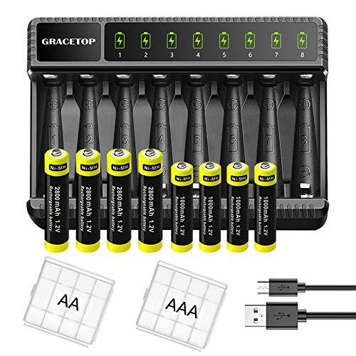 Cargador con 8 ranuras para pilas AA y AAA NI-MH NI-CD baterías recargables, cargador inteligente con LED para pilas recargables, paquete con 4 pilas AA y 4 pilas AAA recargables