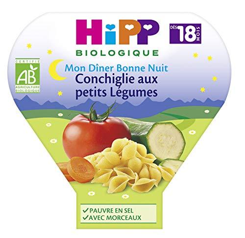 HiPP Biologique Conchiglie aux Petits Légumes dès 18 mois - 6 assiettes de 260 g