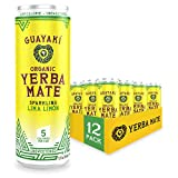 Guayaki Yerba Mate, Organic Sparkling Drink, Lima Limón, 12 Ounce Cans (Pack of 12), 80mg Caffeine, Unsweetened with 5 Calories Per Can, Alternative to Coffee, Tea, Soda and Energy Drinks