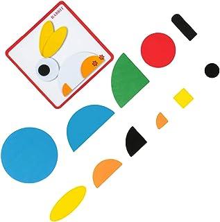 TOYANDONA 1 Set Wooden Pattern Blocks Fun Learning Toys Interesting Wooden Jigsaw Toy Educational Playset Montessori Jigsa...
