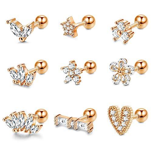 Adramata 9Pcs CZ Barbell Helix Piercing Cartílago Earring Set para mujeres Acero inoxidable Nariz Labios Studs Tragus Flower Conch Flat Back Body Piercing Jewelry 16G