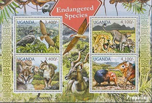 Prophila Collection Uganda 2800-2803 Minifoglio (Completa Edizione) 2012 Rare Animali (Francobolli per i Collezionisti) Uccelli