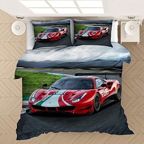 Coche deportivo de lujo 3D kit de ropa de cama con funda nórdica para adultos y adolescentes, cama individual niño, cama doble, ropa de cama con funda de edredón suave y cómoda-K_230x260cm (3pcs)