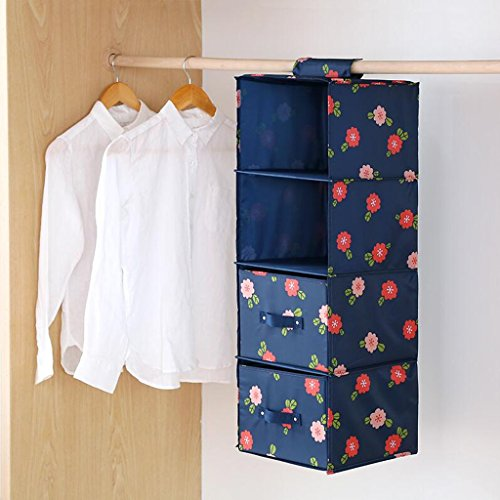 Sacs de rangement Xuan - Worth Another Blue Floral Pattern Drawer Wardrobe Hanging Clothing sous-vêtements Four Layers (27 * 28 * 81cm) (Couleur : Two Drawers)