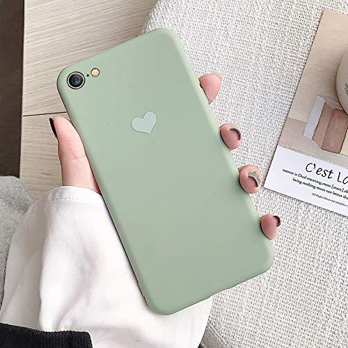 MFKW Apple mobiele telefoon geval voor mannen en vrouwen effen kleur paar persoonlijkheid eenvoudige matcha groen meisje liefde poeder siliconen zachte cover, mat anti-val, 6p / 6splus Matcha Green Love [Gift Lanyard]
