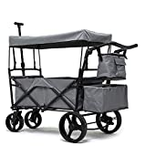PA Collapsible Wagon with Canopy Wheels Suitable for Garden Outdoor Sports Beach Shopping Camping Yard