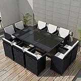 Namotu vidaXL 11-TLG. Conjunto de Muebles de jardín con Cojines de polirratán Negro.