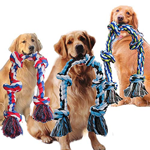 Big Chew Rope Large Dog Heavy Duty Aggressive Chewer Durable Tough Toys Interactive tug of War Outdoor Indoor pet Chewing Tugging Rope Stress Relief Large Breed Big Dog Pulling Toy