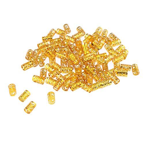 Harilla 100 Piezas Dreadlock Beads Dread Lock Puños Anillos Trenzados Joyería de Peluquería - Dorado