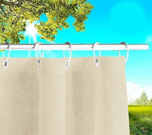 Byour3®️ Balkon Markisen Mit Ringen Sichtschutz - Vertikal Sonnensegel Aus Atmungsaktive Harzbaumwolle Sonnenschutz Terrassen Outdoor Vorhänge Ösen Wasserdichter Stoff (Elfenbein, L.390 X280cm)