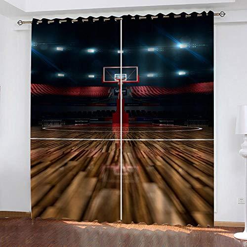 XDJQZX Cortinas Opacas Niño Habitacion con Ollaos Impresión Patrón De Cancha De Baloncesto Deportivo 3D Salón Dormitorio Grandes Cortinas 2 Piezas 140 X 160Cm Decoración De La Ventana, Proteccion
