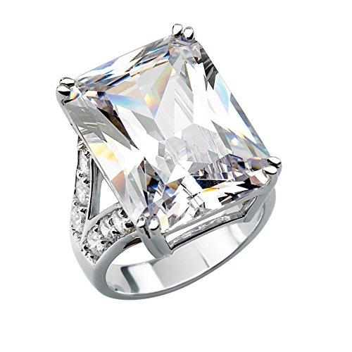 Palm Beach Jewelry Platinum Plated Emerald Cut Cubic Zirconia Split Shank...