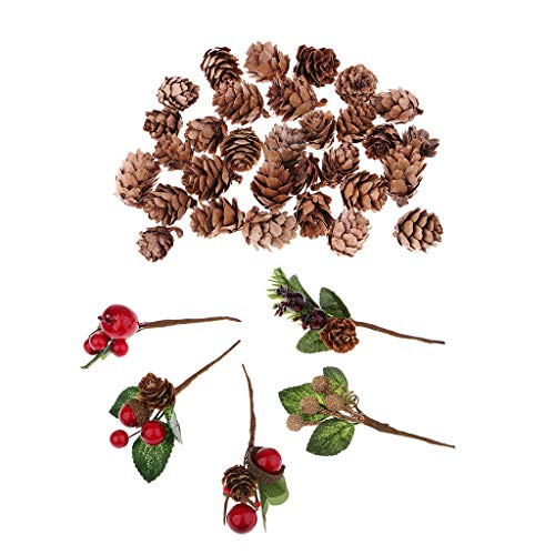 FLAMEER 60 Artificial Flower Bouquets Natural Dried Pine Cones DIY Art Gifts Decor