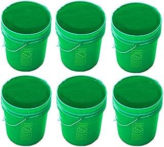 5 Gallon Green Buckets Six (6) Pack | Plastic