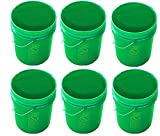 5 Gallon Green Buckets Six (6) Pack | Plastic