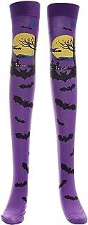 Cosplay de Halloween Medias suaves sobre la rodilla Calcetines altos Patrón de murciélago Medias largas para mujeres niñas (Púrpura)