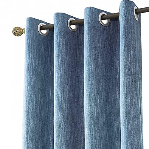 Melodieux 1 Pieza Cortinas Opacas para Salón y Dormitorio Infantiles Cortinas Termicas Aislantes para Puertas Exteriores, Azul Marino/140x245cm