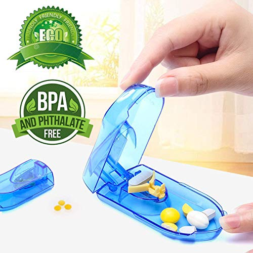 Pill Cutter, Easily Crush Medicine Tablets and Vitamins, Tablet Cutter with Small Pill Box Container, Pill Splitter Cutter Chopper,Best Pill Cutter Ever, Easy to Carry When Going Out. Blue