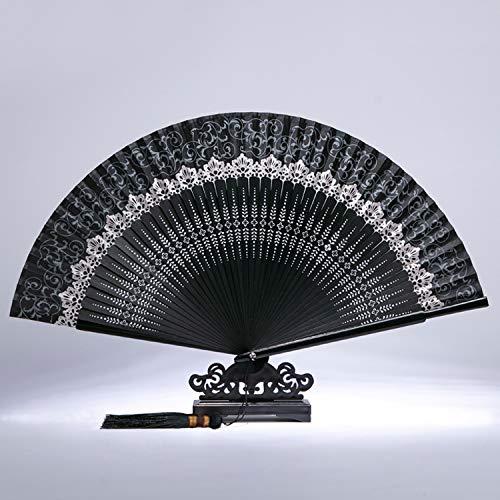 Es un abanico plegable con estilo chino y hecho de bambú y encaje. El diseño más sorprendente es...