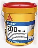 Sikafill-200 fibras, Pintura elástica con fibras para impermeabilización, Blanco, 5kg