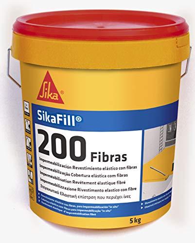 Sikafill-200 fibras, Pintura elástica con fibras para impermeabilización, Teja, 5kg