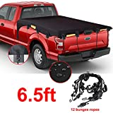 Truck Bed Tarp Cover with Bungee Cords for Standard Bed (6.5' Box), Oxford Waterproof Fabric Pickup Bed Covers with Reflective Strips Fit for Ford F150 GMC Silverado/Sierra Ram