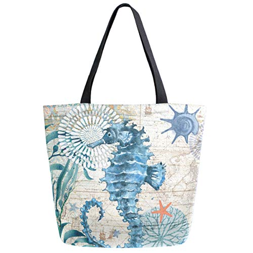 ZzWwR Vintage Nautical Seahorse Starfish Old Map Print Extra Large Canvas Shoulder Tote Top Storage Handle Bag for Gym Beach Weekender Travel Reusable Grocery Shopping