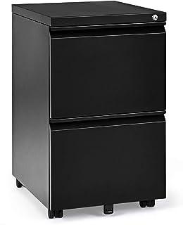 RELAX4LIFE Caisson de Bureau en Acier, Caisson à roulettes avec tiroirs, classeur/Armoire Basse verrouillable pour Garder ...