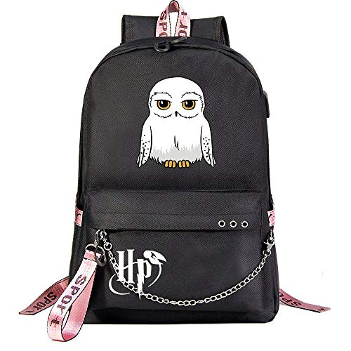 HP lässig Laptop Rucksack Jugendliche Studententasche Unisex Black Backpack , mit Kopfhörer Jack Harry Potter Stil-3