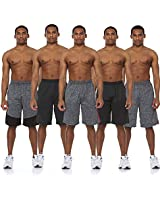 Essential Elements 5 Pack: Men's Active Performance Quick-Dry Athletic Gym Knit Stretch Drawstring Basketball Shorts with Pockets (Small, Set A)