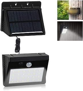 VARICART Solarna lampa ścienna 6 W, 30 LED, wodoszczelna, na zewnątrz, dwuczęściowy zdejmowany panel z czujnikiem ruchu PI...