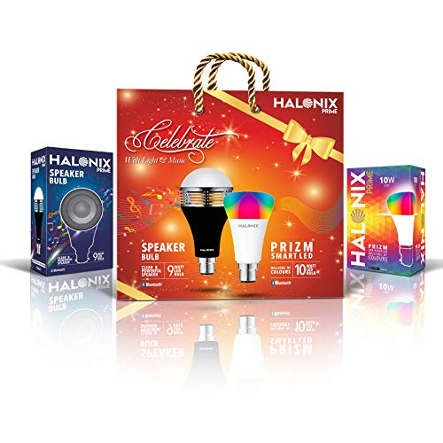 Halonix Combo-Gift Pack - Halonix Prime 9W Bluetooth Speaker Bulb & 10W Bluetooth Million Colour Bulb 2-in-1 Gift Pack – Gift of Light & Music this Diwali – Diwali, Festive Gift