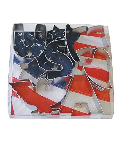 R&M International USA Patriotic Cookie Cutters, 2 Stars, Flag, Eagle, Heart, Letters U, S, A, 8-Piece Set