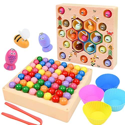 Juego de pesca de madera, juguete de pesca magnético para niños, juego de mesa de captura magnética de abejas 3 en 1, juguetes educativos de habilidades de aprendizaje Montessori, para niños mayores d