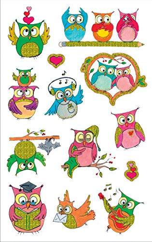 AVERY Zweckform 56066 Kinder Sticker Eule (Glitzerfolie) 13 Aufkleber