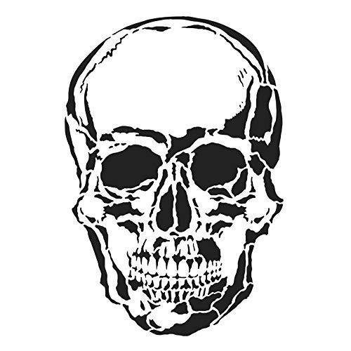Ideen mit Herz Laser-Kunststoff-Schablone, DIN A4 | perfekt geeignet für Textilgestaltung, Wandgestaltung, Fenster, Papier, Scrapbooking, Kinder, Basteln, DIY (Totenkopf/Skull)