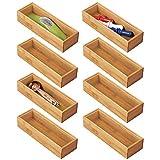 mDesign Juego de 8 separadores de cajones para la cocina – Organizadores para cajones modulares para cubertería y más – Cubertero de bambú para cajones de cocina – color natural