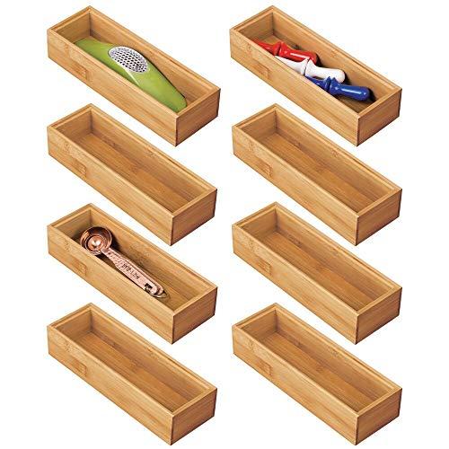 mDesign 8er-Set Schubladeneinsatz für die Küche – modularer Besteckkasten für Silberbesteck und mehr – Organizer aus Bambus für die Schublade – naturfarben