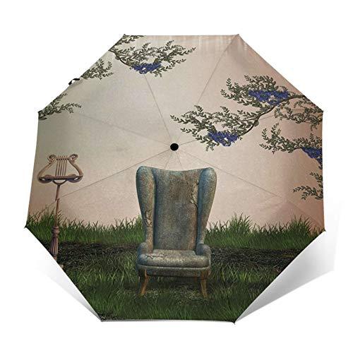 Paraguas Plegable Automático Impermeable Sofá Sillón, Paraguas De Viaje Compacto a Prueba De Viento, Folding Umbrella, Dosel Reforzado, Mango Ergonómico