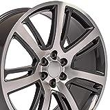 OE Wheels LLC 24 Inch Fits Chevy Silverado Tahoe GMC Sierra Yukon Cadillac Escalade CA88 Gunmetal Mach'd 24x10 Rim Hollander 4738