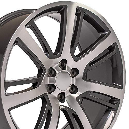 OE Wheels LLC 24 Inch Fit Chevy Silverado Tahoe GMC Sierra Yukon Cadillac Escalade CA88 Gunmetal Mach'd 24x10 Rims Hollander 4738 SET