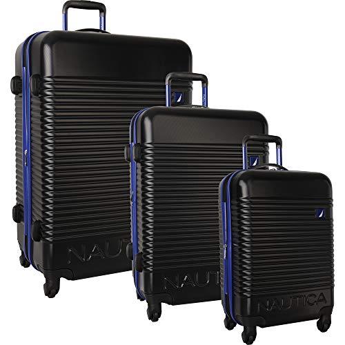Nautica 3-teiliges Koffer-Set mit 4 Rädern, Schwarz/Kobalt (Schwarz) - 3315P01