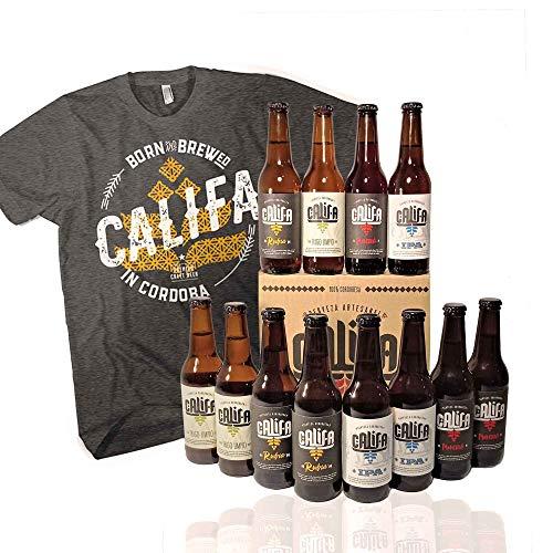 Pack de cervezas artesanas Califa, desde Córdoba. Incluye camiseta Hombre talla XL. IPA, Trigo Limpio, Rubia Blonde Ale y Morena Amber Ale.