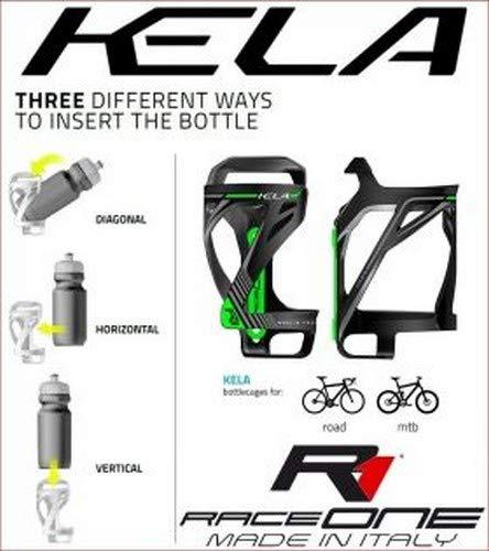 RaceOne - Soporte para Botellas de Bicicleta, Unisex, para Adulto, Negro/Verde Fluorescente, único