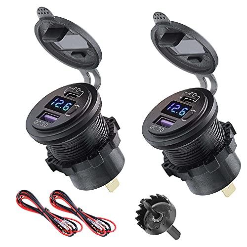Cargador de coche dual USB 12 V, 2 unidades, PD tipo C y QC 3.0 cargador rápido con voltímetro digital LED y botón de interruptor de encendido/apagado para motocicleta, barco, RV, ATV
