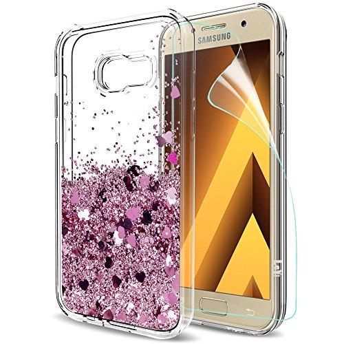 LeYi Funda Samsung Galaxy A5 2017 Silicona Purpurina Carcasa con HD Protectores de Pantalla,Transparente Cristal Bumper Telefono Gel TPU Fundas Case Cover Para Movil Galaxy A5 2017 A520F ZX Oro Rosa