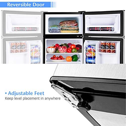 COSTWAY Compact Refrigerator, 3.2 cu ft. Unit 2-Door Mini Freezer Cooler Fridge with Reversible Door, Removable Glass Shelves, Mechanical Control, Recessed Handle for Dorm, Office, Apartment (Grey)